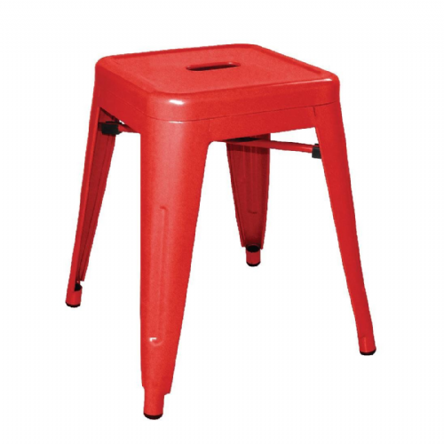 Bolero Steel Bistro Low Stools Red (Pack of 4) - DL870